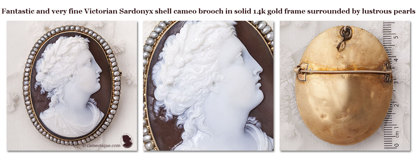 In Earnest Antique Early Carved Shell Cameo Victorian Ladies Brooch Excellent Quality